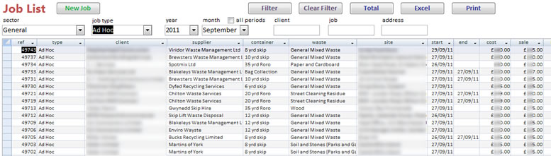 Waste Management Job List