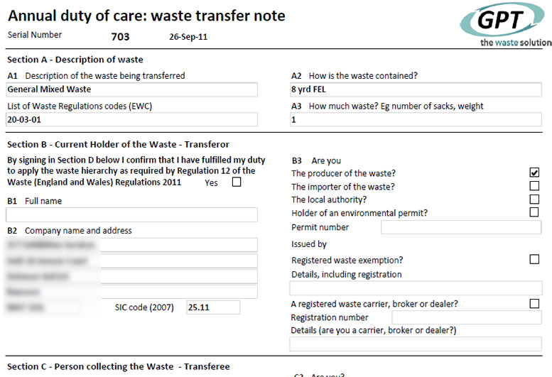 Duty of Care - Waste Transfer Note